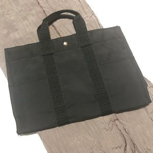 HERMÈS Herline Black & Gray Canvas Tote Bag